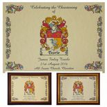 Family Crest Christening or Baptism A4 print PERSONALISED, ref CFCP